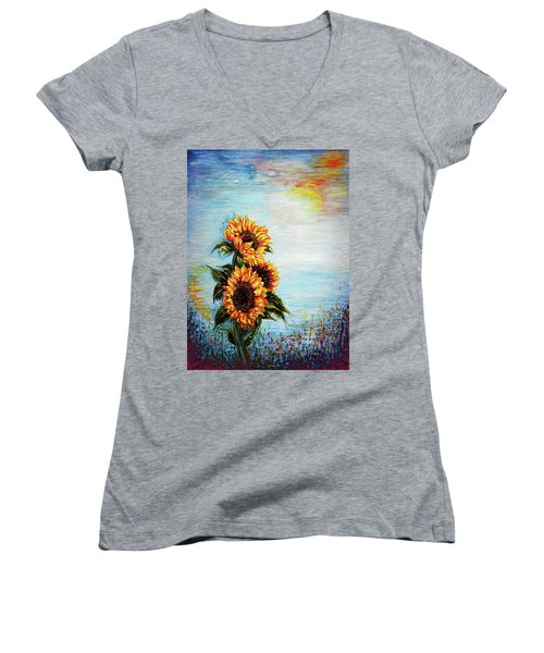 Sunflowers - Where Ocean Meets The Sky Women's V-Neck
