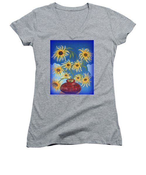 Sunflowers On Navy Blue Women's V-Neck T-Shirt (Junior Cut) by Marie Schwarzer