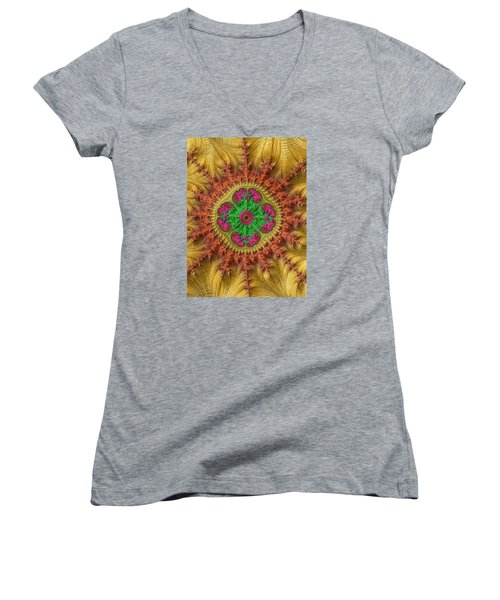 Women's V-Neck T-Shirt (Junior Cut) featuring the photograph Sungold by Ronda Broatch