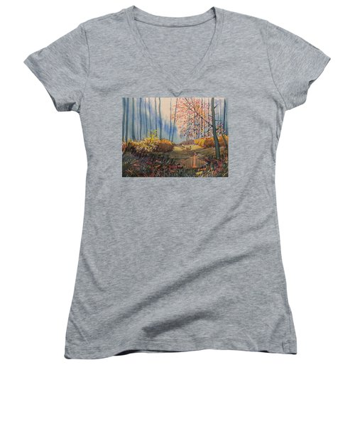 Sunlight And Sheep In Sledmere Woods Women's V-Neck