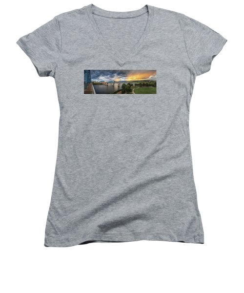 Sunlight And Showers Over Chattanooga Women's V-Neck T-Shirt (Junior Cut) by Steven Llorca