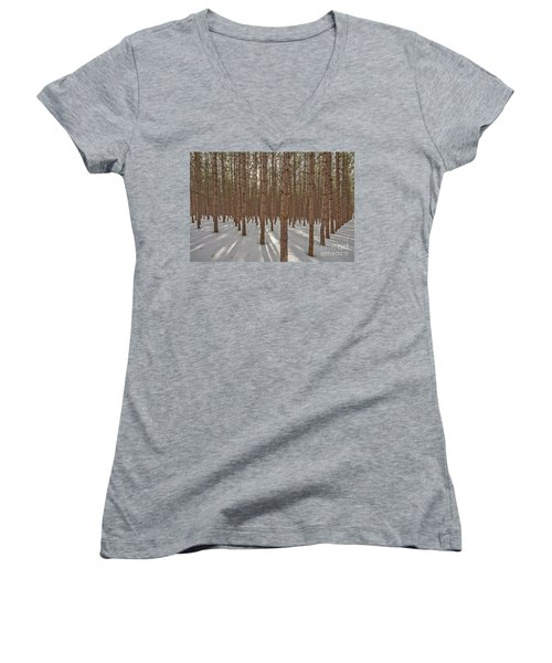 Sunlight Filtering Through A Pine Forest Women's V-Neck