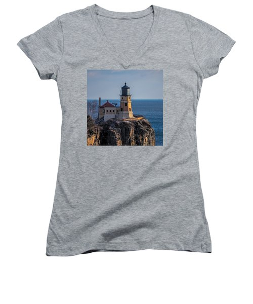 Sunlight On Split Rock Lighthouse Women's V-Neck T-Shirt (Junior Cut) by Paul Freidlund