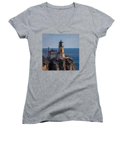 Sunlight On Split Rock Lighthouse Women's V-Neck (Athletic Fit)