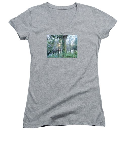 Sunlight On The Edisto River Women's V-Neck T-Shirt (Junior Cut) by Kay Gilley