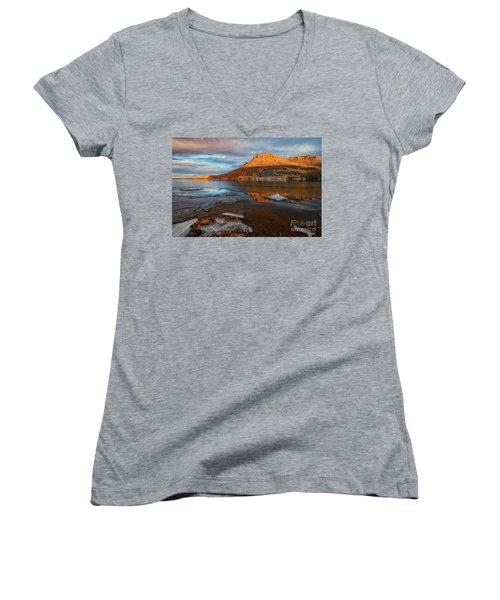 Sunlight On The Flatirons Reservoir Women's V-Neck T-Shirt (Junior Cut) by Ronda Kimbrow
