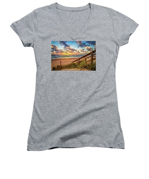 Women's V-Neck T-Shirt (Junior Cut) featuring the photograph Sunlight On The Sand by Debra and Dave Vanderlaan
