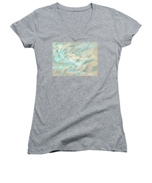 Women's V-Neck T-Shirt (Junior Cut) featuring the digital art Sunlight On Water by Amyla Silverflame