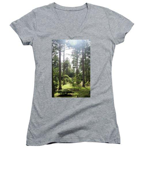 Women's V-Neck T-Shirt (Junior Cut) featuring the photograph Sunlight Through The Trees by Scott Lyons