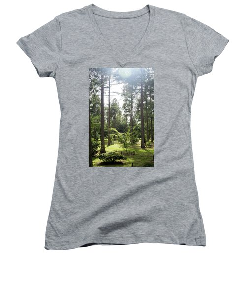 Women's V-Neck T-Shirt featuring the photograph Sunlight Through The Trees by Scott Lyons