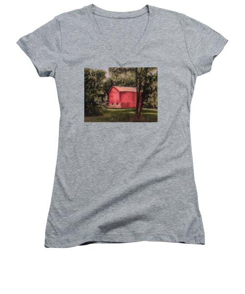Sunlit Barn Women's V-Neck T-Shirt (Junior Cut) by Sharon Schultz