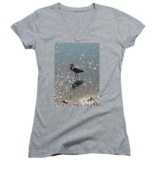 Women's V-Neck T-Shirt (Junior Cut) featuring the photograph Sunlit Heron by Carol  Bradley