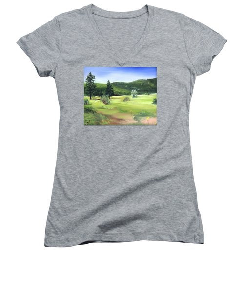Women's V-Neck T-Shirt (Junior Cut) featuring the painting Sunlit Mountain Meadow by Jane Autry