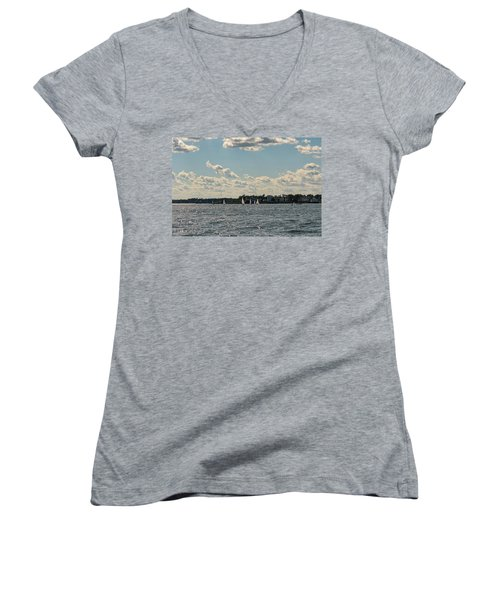 Women's V-Neck T-Shirt (Junior Cut) featuring the photograph Sunlit Sailboats Norwalk Connecticut From The Water by Marianne Campolongo