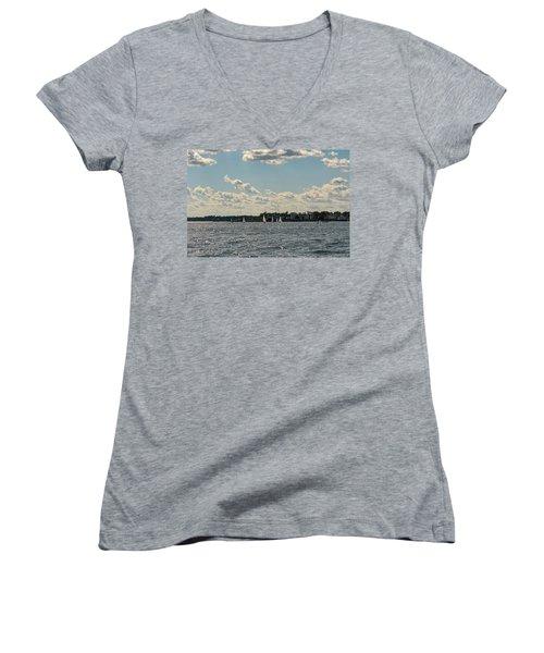 Sunlit Sailboats Norwalk Connecticut From The Water Women's V-Neck T-Shirt
