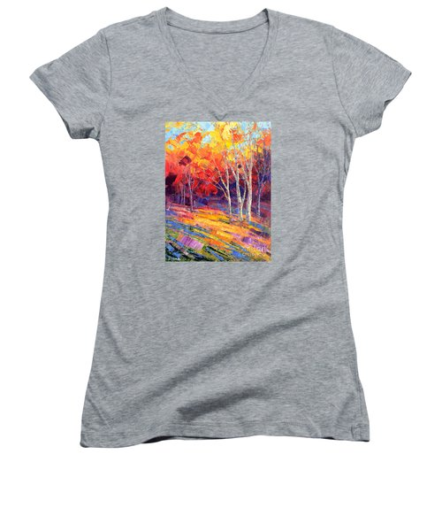 Sunlit Shadows Women's V-Neck T-Shirt (Junior Cut) by Tatiana Iliina
