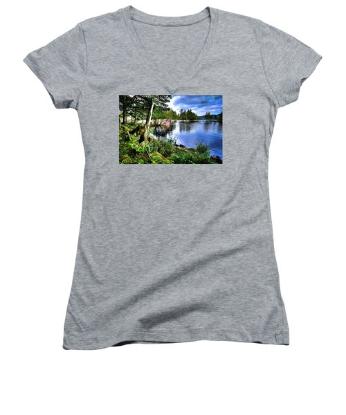 Women's V-Neck T-Shirt featuring the photograph Sunlit Shore At Covewood by David Patterson