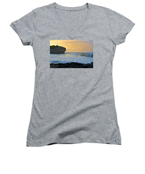Sunlit Waves - Kauai Dawn Women's V-Neck T-Shirt (Junior Cut) by Marie Hicks