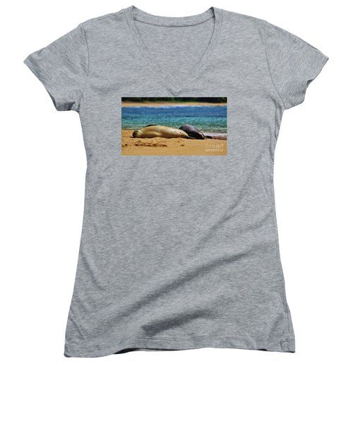 Sunning On The Beach In Hawaii Women's V-Neck T-Shirt (Junior Cut) by Craig Wood