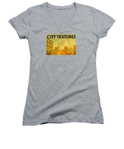 Sunny City Textures Women's V-Neck T-Shirt (Junior Cut) by John Fish