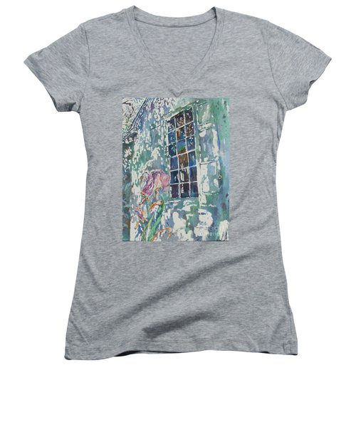Women's V-Neck T-Shirt (Junior Cut) featuring the painting Sunny Day At Brandywine by Mary Haley-Rocks
