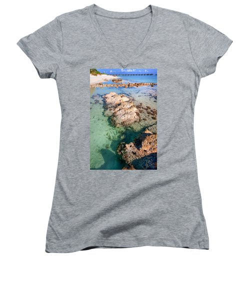 Women's V-Neck T-Shirt (Junior Cut) featuring the photograph Sunny Day At Maldivian Resort by Jenny Rainbow