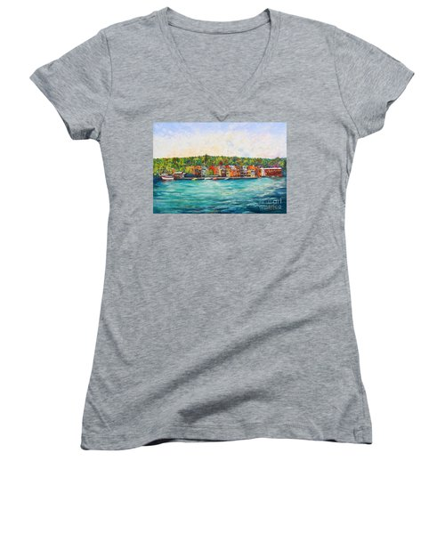 Summer In Skaneateles Ny Women's V-Neck (Athletic Fit)