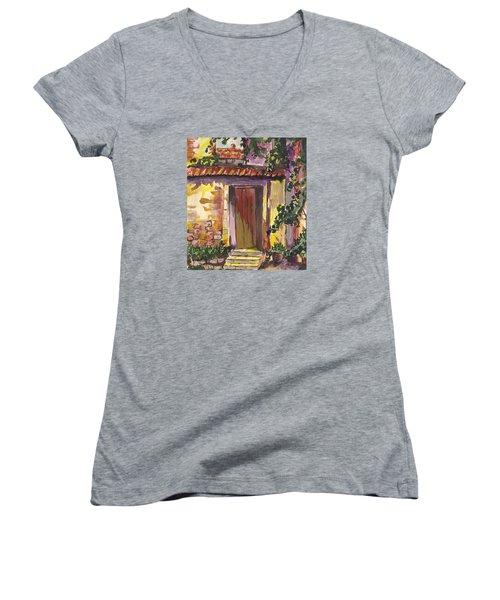 Women's V-Neck T-Shirt (Junior Cut) featuring the digital art Sunny Doorway by Darren Cannell