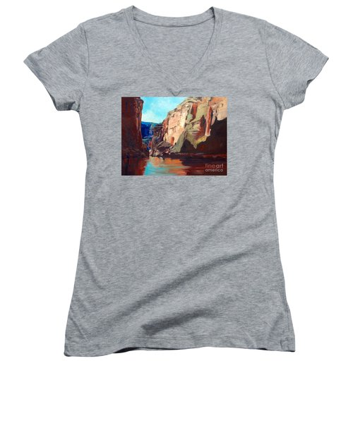 Sunny Morning On The Mighty Colorado Women's V-Neck (Athletic Fit)