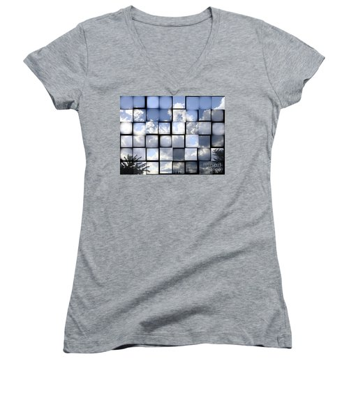 Women's V-Neck T-Shirt (Junior Cut) featuring the photograph Sunny Sky by Christina Verdgeline