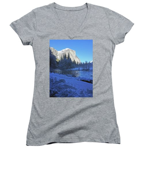 Women's V-Neck T-Shirt featuring the photograph Sunny Winter Day 01 13 17 by Walter Fahmy
