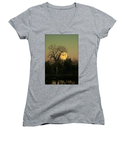 Women's V-Neck T-Shirt (Junior Cut) featuring the photograph November Supermoon  by Chris Berry