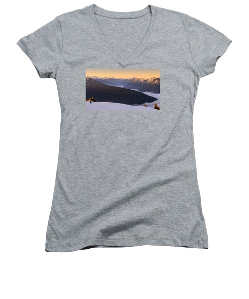 Women's V-Neck T-Shirt (Junior Cut) featuring the photograph Sunrise Above The Clouds by Dan Mihai