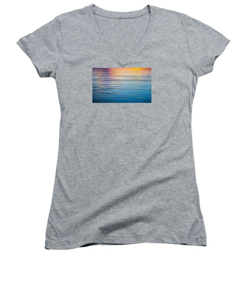 Sunrise Abstract On Calm Waters Women's V-Neck T-Shirt (Junior Cut) by Parker Cunningham