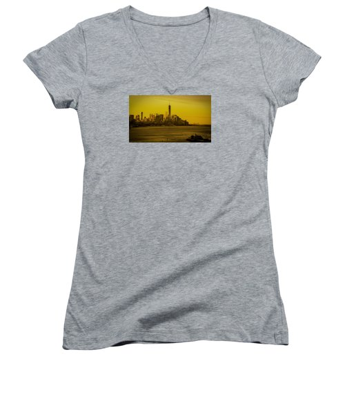 Sunrise Across The Hudson Women's V-Neck