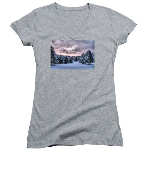 Sunrise After The Snow  Women's V-Neck T-Shirt (Junior Cut) by Betty Pauwels