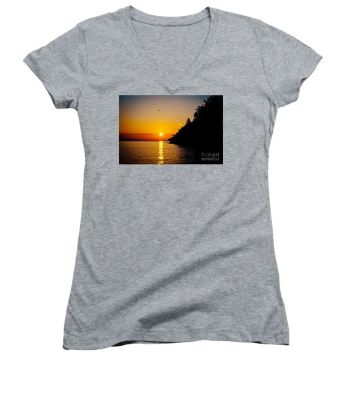 Sunrise And Seascape Orange Color Women's V-Neck