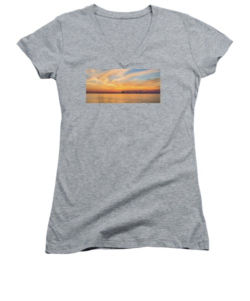Women's V-Neck T-Shirt (Junior Cut) featuring the photograph Sunrise And Splendor by Bill Pevlor