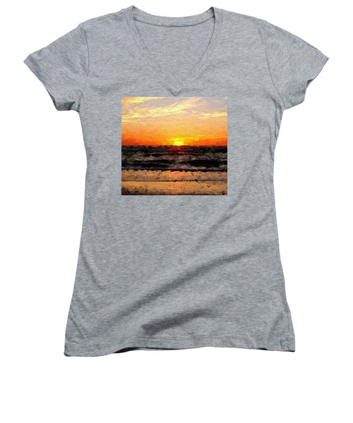 Women's V-Neck T-Shirt (Junior Cut) featuring the digital art Sunrise by Anthony Fishburne