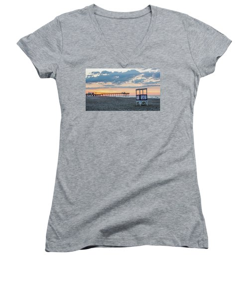 Sunrise At 16th Street Ocean City New Jersey Women's V-Neck T-Shirt