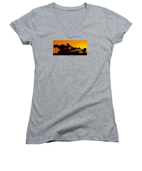 Sunrise At Barefoot Park Women's V-Neck T-Shirt (Junior Cut) by Don Durfee