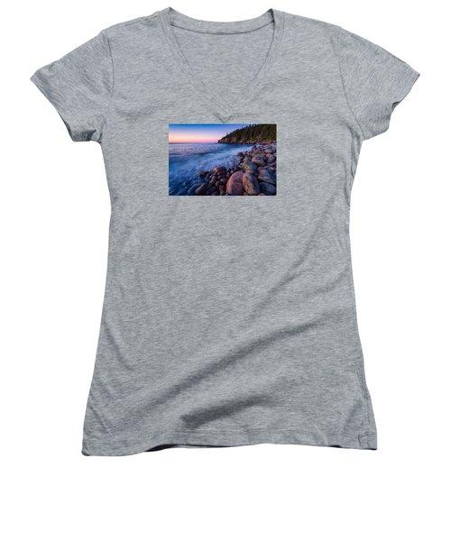Sunrise At Boulder Beach Acadia Np Women's V-Neck