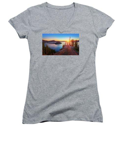 Sunrise At Crater Lake Women's V-Neck