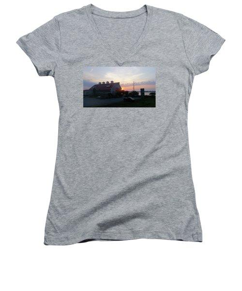 Sunrise At Hooper's Crab House Women's V-Neck T-Shirt (Junior Cut) by Robert Banach