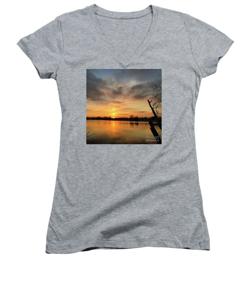 Women's V-Neck T-Shirt (Junior Cut) featuring the photograph Sunrise At Jacobson Lake by Sumoflam Photography