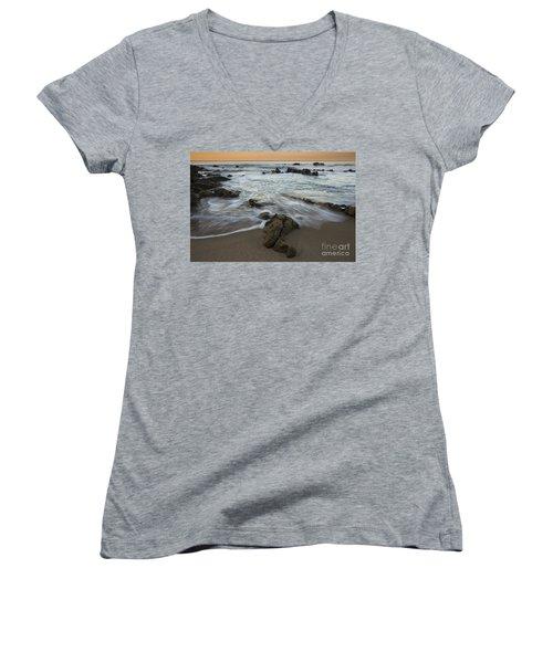Women's V-Neck T-Shirt (Junior Cut) featuring the photograph Sunrise At Laguna Beach by Keith Kapple