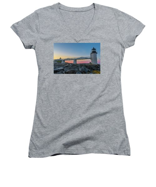 Sunrise At Marshall Point Women's V-Neck (Athletic Fit)