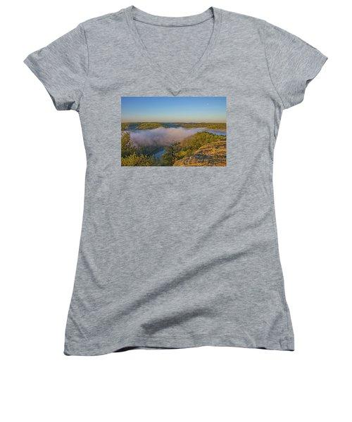 Sunrise At Mill Creek Lake. Women's V-Neck T-Shirt (Junior Cut) by Ulrich Burkhalter