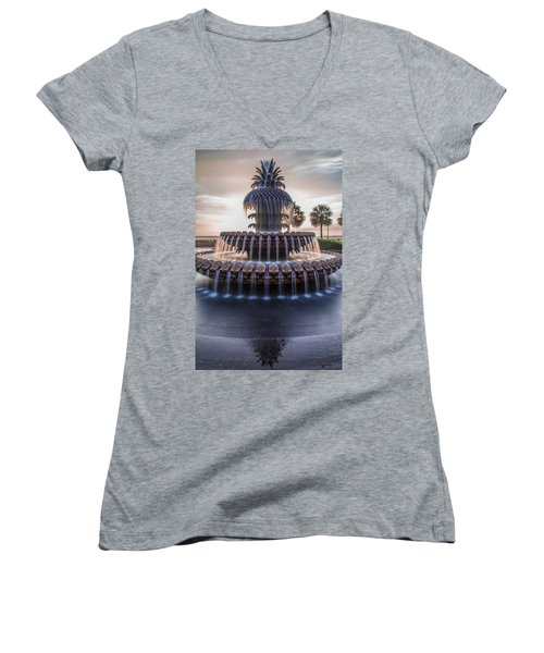 Sunrise At Pineapple Fountain Charleston Women's V-Neck