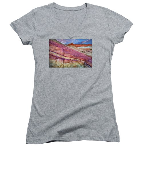 Women's V-Neck T-Shirt (Junior Cut) featuring the photograph Sunrise At Rainbow Rock by Darren White